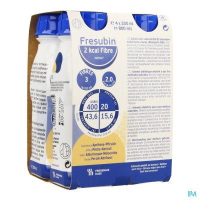 Fresubin 2 Kcal Fibre Drink 200ml Pêcheabricot/abrikoosperzik