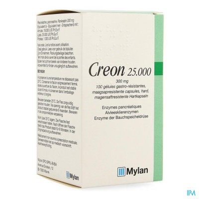 CREON 25000 CAPS MAAGSAPRESIST HARD 100 X 300 MG