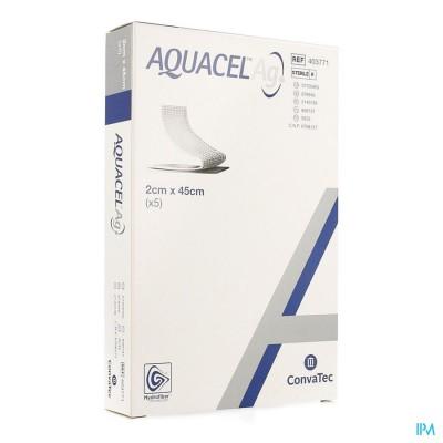 Aquacel Ag Verb Hydrofiber+versterking 2x45cm 5