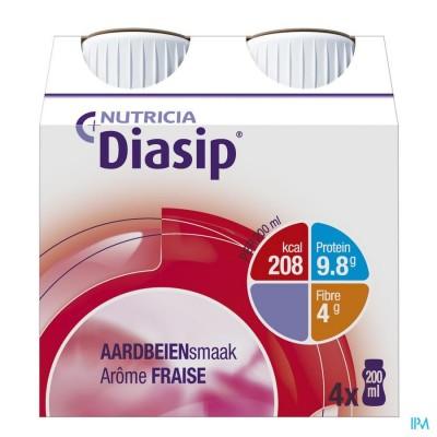 Diasip Aardbei Fles 4x200ml