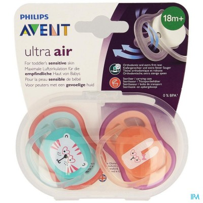 PHILIPS AVENT FOPSPEEN +18M AIR GIRL TIJGER KONIJN