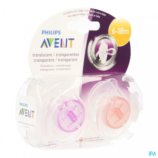 Philips Avent Fopspeen Transparant Silicone +6m 2 SCF170/22